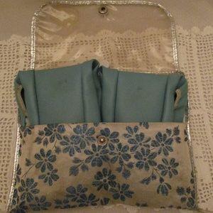 1950s TRAVEL SLIPPERS W. TRAVELCASE Lucite Velvet
